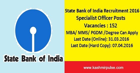 State Bank of India Recruitment 2016 for 152 Specialist Officers