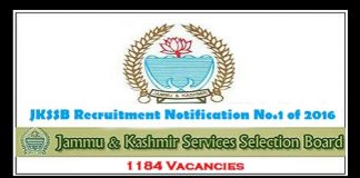 JKSSB Recruitment Notification No.1 of 2016 for 1184 Posts