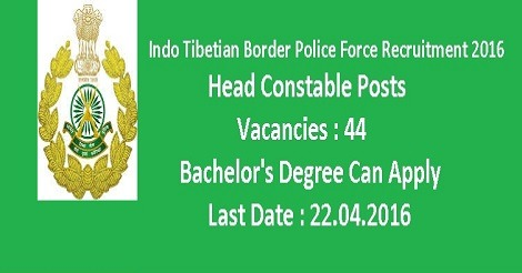 ITBP Recruitment 2016 for Head Constable Posts