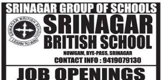 Srinagar British School has job vacancies