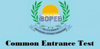 J&K Board of Professional Entrance Examinations (JK BOPEE) Common Entrance Test (CET)