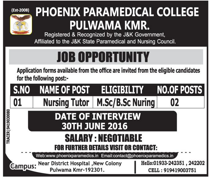 Job opportunity at Phoenix Paramedical College Pulwama