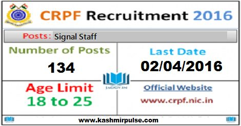 Signal Staff Recruitment in CRPF (134 Vacancies)