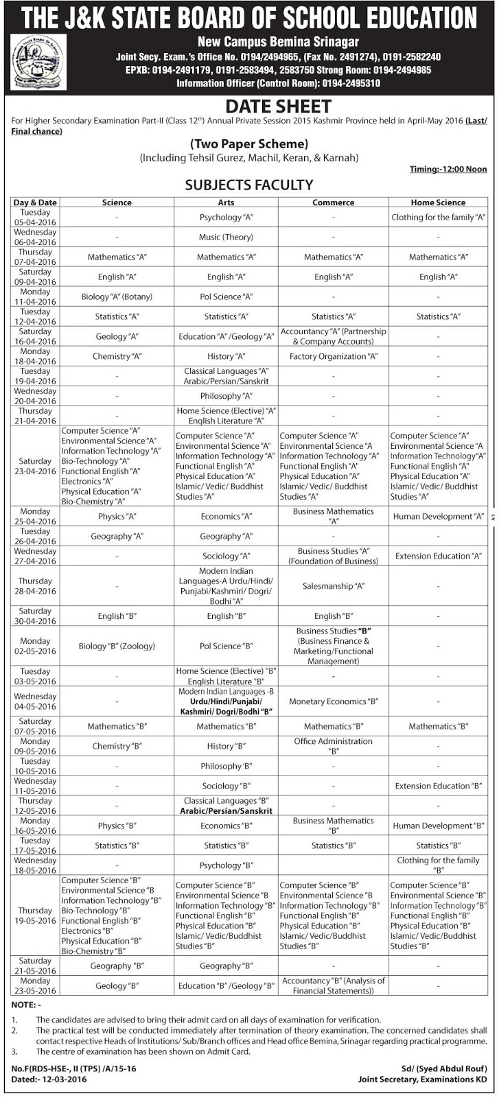 Date Sheet for 12th Class Annual Private Examination