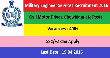 Military Engineer Services Recruitment 2016 - 463 Vacancies