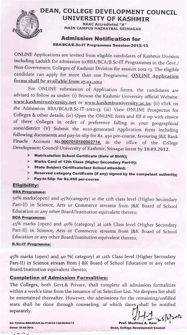 Admission Notification for BBA/BCA/B.Sc IT - Session 2012