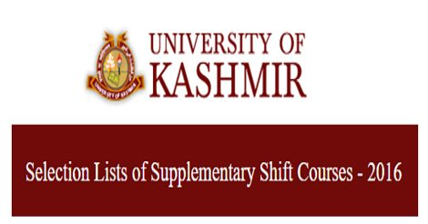 Selection Lists for Supplementary Shift Courses at KU Main Campus