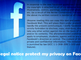 Will a legal notice protect my privacy on Facebook?