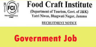 Food Craft Institute, Department of Tourism has job vacancies