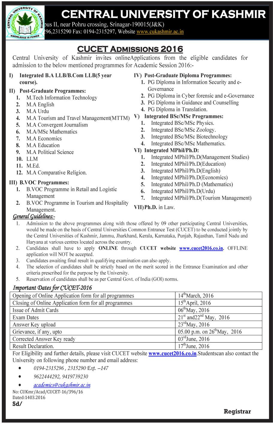 Central University of Kashmir - CUCET Admissions 2016