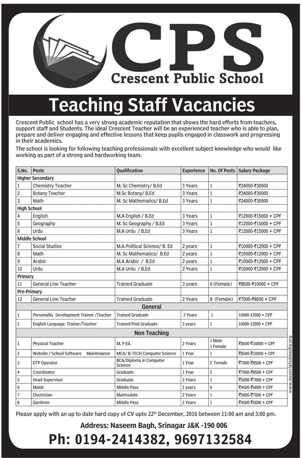 Crescent Public School has teaching staff vacancies