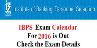 IBPS Common Written Examination Calendar 2016-17