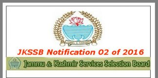JKSSB Notification 02 of 2016