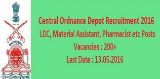 Central Ordnance Depot Recruitment 2016 for 200+ Clerk Posts