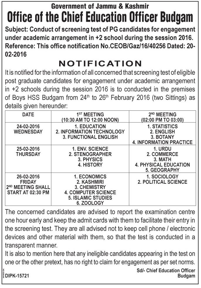 Center Notice for Screening Test of +2 Contractual Lecturers - Budgam