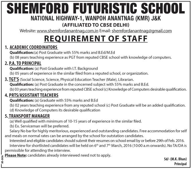 Shemford Futuristic School requires staff