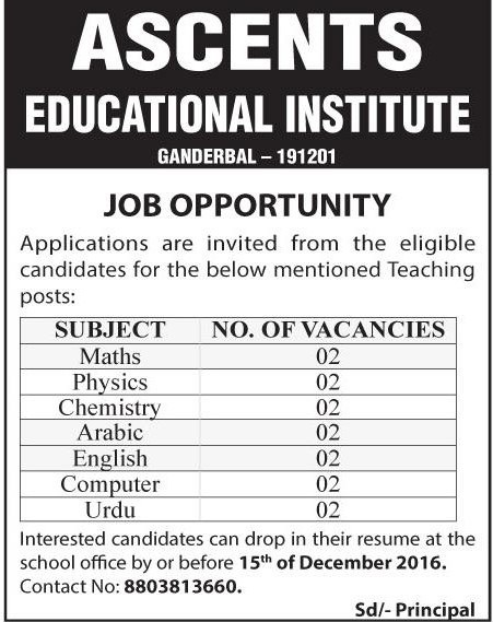 Job opportunity at Ascents Educational Institute