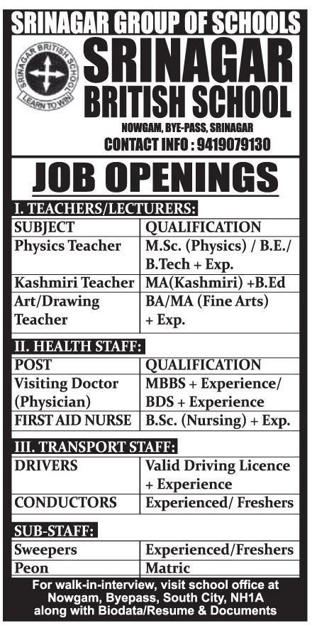 Srinagar British School has job vacancies