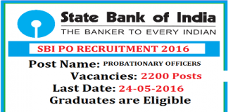 SBI Probationary Officer Recruitment 2016 for 2200 Posts
