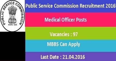 JKPSC Recruitment 2016 for 97 Medical Officer Posts