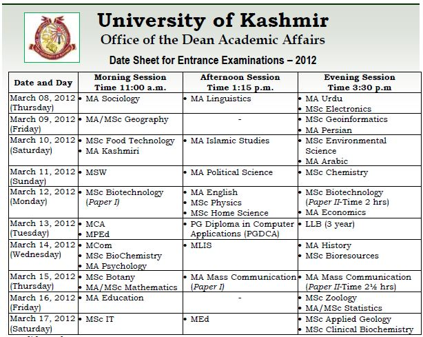 Date Sheet for Entrance Examinations - 2012