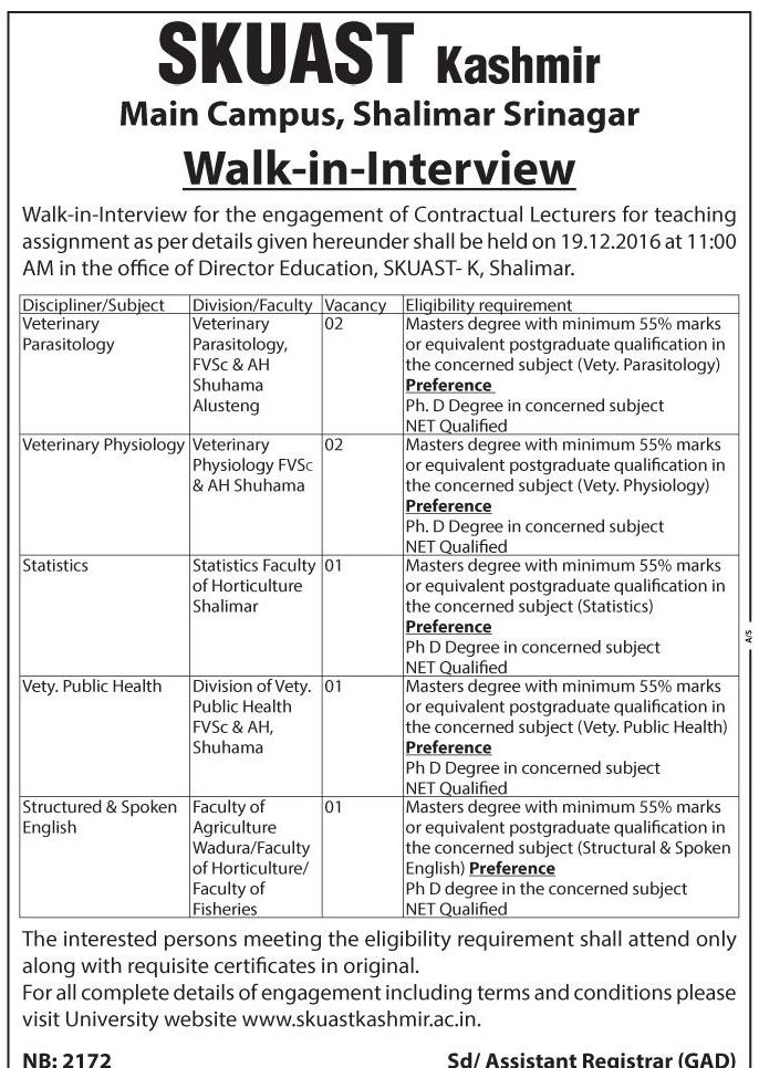 Walk-In Interview for Contractual Lecturer Recruitment at SKUAST Kashmir