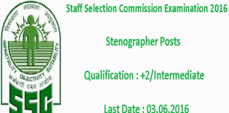 Staff Selection Commission Stenographers Examination 2016