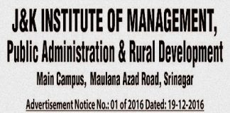 J&K Institute of Management has job vacancies