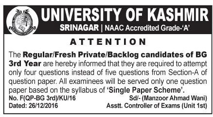 Attempt only 4 Questions instead of 5, KU asks 3rd Year candidates