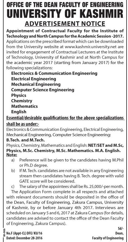 Kashmir University has teaching job vacancies