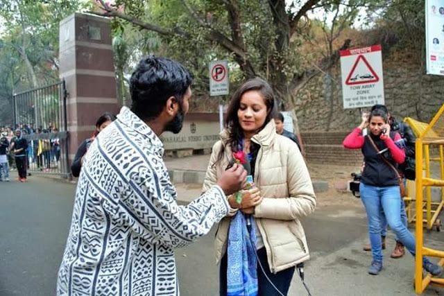 Flower Protest against 'Media Trial' in JNU