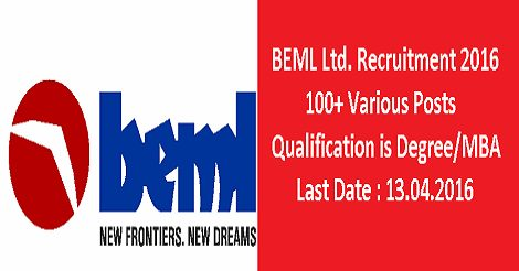 BEML Limited Recruitment 2016 for 100+ Posts