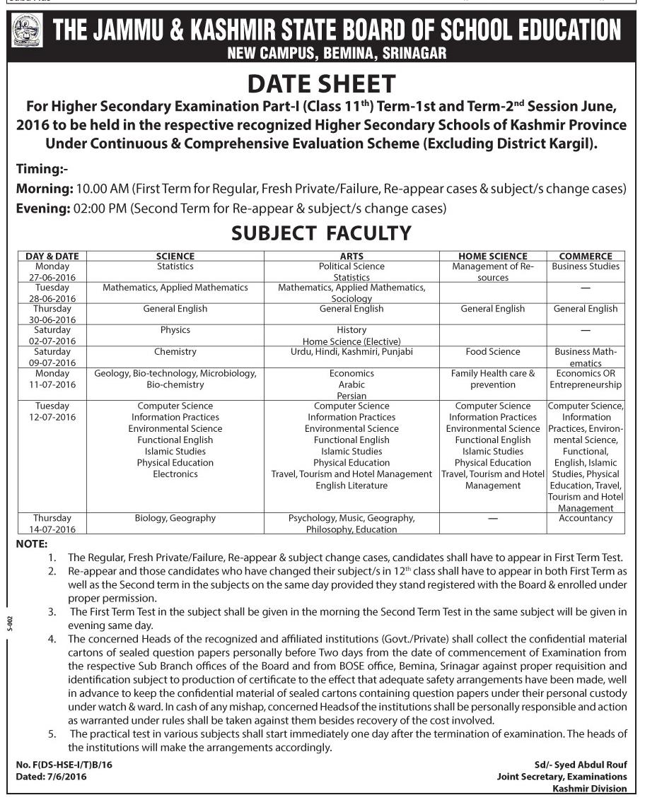 Date Sheet for Term 1st & Term 2nd Examination of Class 11th