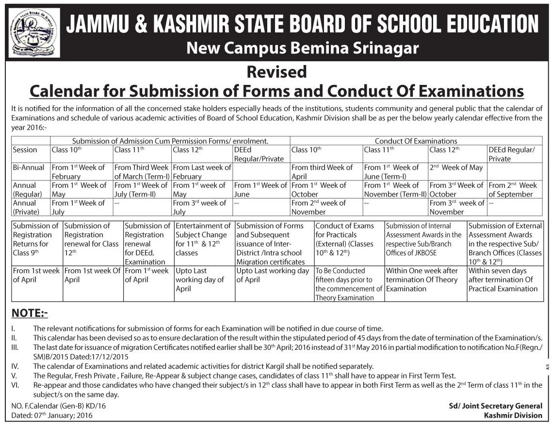 JKBOSE Calendar for Submission of Forms & Conduct of Exams