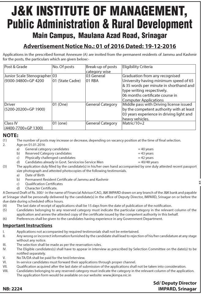 J&K Institute of Management has job vacancies