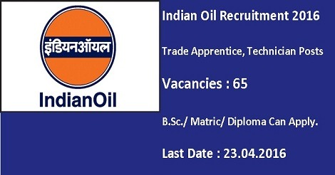 Indian Oil Recruitment 2016 for Trade Apprentice, Technicians
