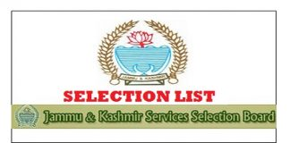 JKSSB Selection Lists