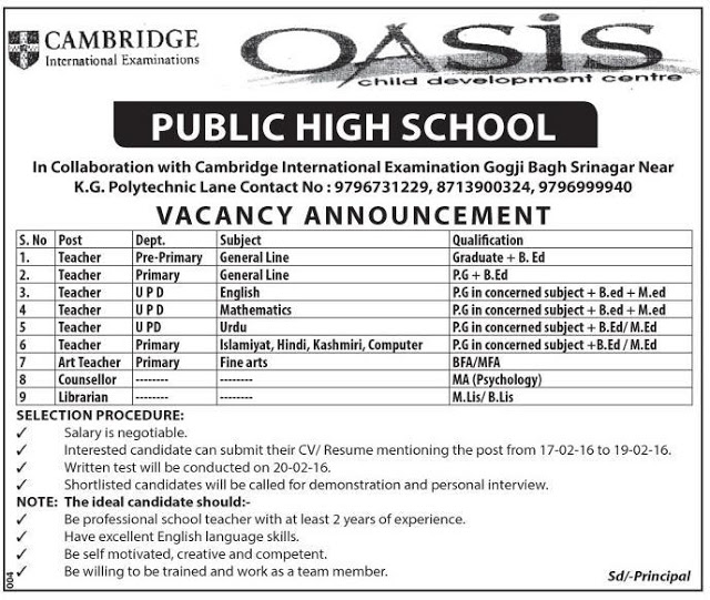 Oasis Public High School has job vacancies