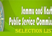 JKPSC Selection List