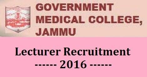 GMC Jammu Lecturer Recruitment 2016