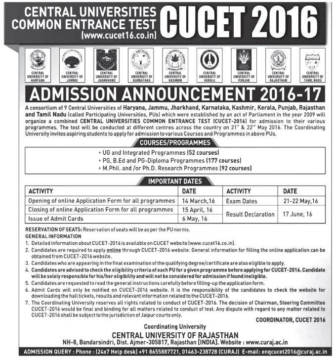 CUCET: Admission Announcement 2016-17