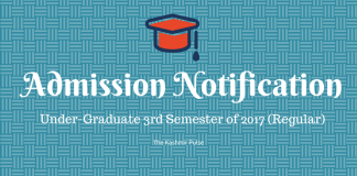 Admission Notice for Undergraduate 3rd Semester, 2017