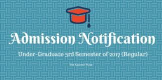 Admission Notice for Undergraduate 3rd Semester, 2017