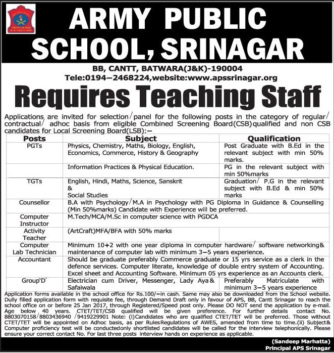 Army Public School Srinagar requires teaching staff