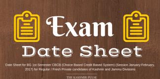 Date Sheet for BG 1st Semester (CBCB System)