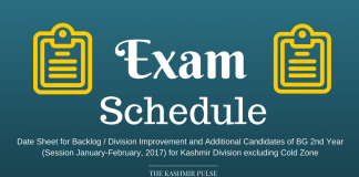 Date Sheet for BG 2nd Year (Session Jan-Feb, 2017) for Kashmir Division