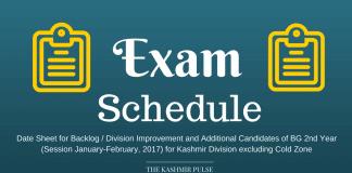 Date Sheet for BG 2nd Year (Session Jan-Feb, 2017) for Kashmir Division
