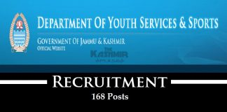 Directorate of Youth Services & Sports Recruitment for 168 Posts
