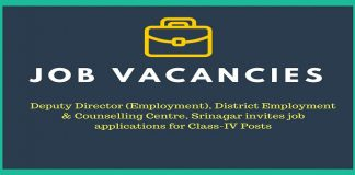 District Employment & Counselling Centre, Srinagar has job vacancies