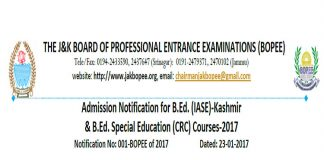 JKBOPEE Admission Notification for B.Ed (IASE & CRC) 2017